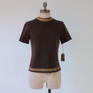 vintage brown top | vintage brown wool top 1950s